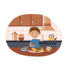 Cute little boy is eating fruits and showing his vector