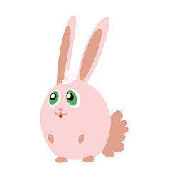 cute pink bunny cartoon emoticon character vector image