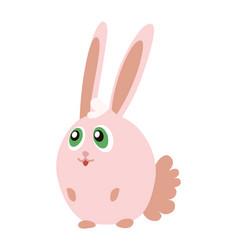 cute pink bunny cartoon emoticon character vector image