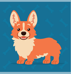 cute welsh corgi standing and smiling element for vector image