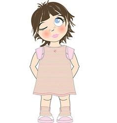 Cute young girl vector