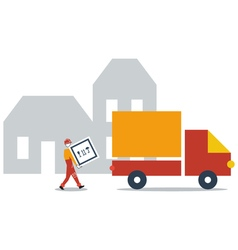 Delivery service company truck transportation vector