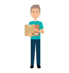 Delivery worker lifting goods avatar character vector