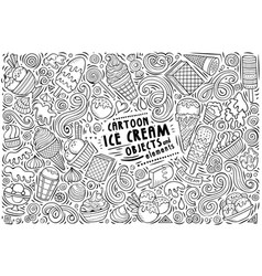 doodle cartoon set ice cream items vector image