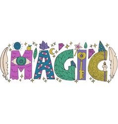 Doodle magic lettering vector
