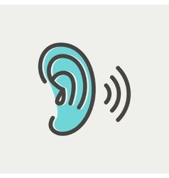 Ear thin line icon vector image