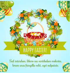 easter egg hunt basket with flowers greeting card vector image