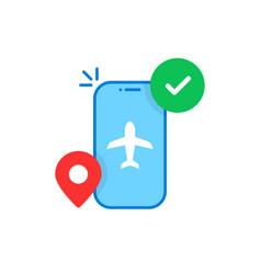 Easy flight booking with cartoon phone vector