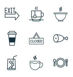 eating icons set with coffee cup soup lemonade vector image