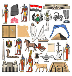 egypt flag map and ancient pyramid gods temples vector image