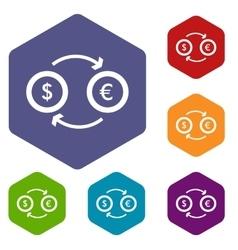 Euro dollar euro exchange icons set vector image