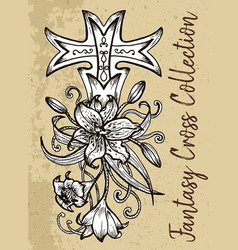 fantasy cross with flower vector image