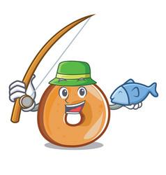fishing bagels mascot cartoon style vector image