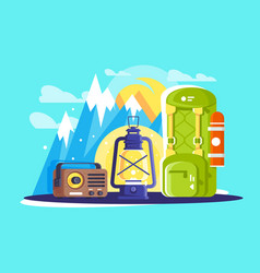 flat hiking and travelling equipment with backpack vector image