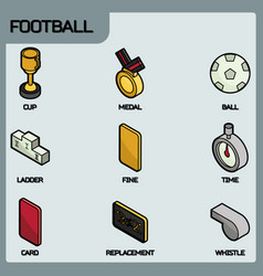 Football color outline isometric icons vector