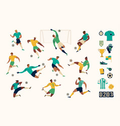 football soccer player set isolated characters vector image