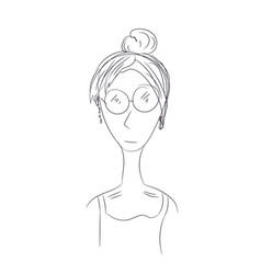 Girl in glasses line vector
