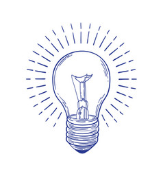 Glowing incandescent light bulb hand drawn with vector