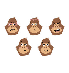 Gorilla cute monkey faces emoticons vector