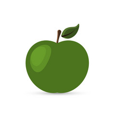 Green apple with a leaf on vector