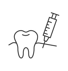 Gum injection linear icon vector