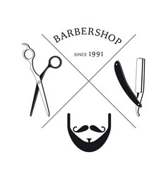 Hand drawn barbershop logotype template vector