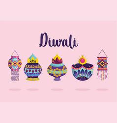 happy diwali festival festive celebration light vector image