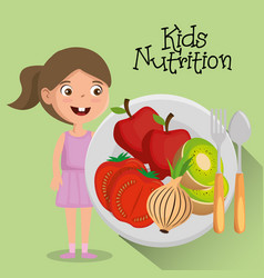 Happy girl with nutrition food vector