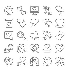 hearts and love concept icons set in outline style vector image