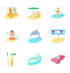Holiday in miami icons set cartoon style vector