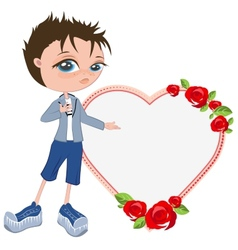 In love with boy shows heart Template for vector image