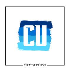 initial letter cu logo template design vector image