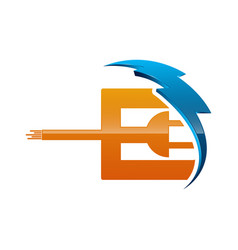 Initial letter e logo template colored blue and vector