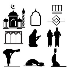 Islamic decorative ornaments and people silhouette vector