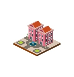 Isometric icon representing modern house with vector image