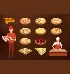 italian pizza deliveryman pizza cooking pizza vector image
