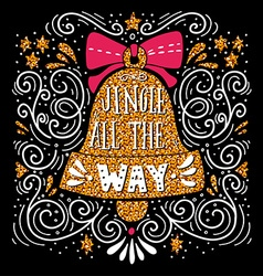 Jingle all the way Christmas hand lettering on vector