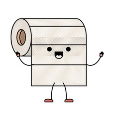 kawaii cartoon roll paper towel in colored crayon vector image