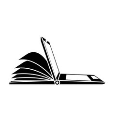 Laptop computer with ebook vector