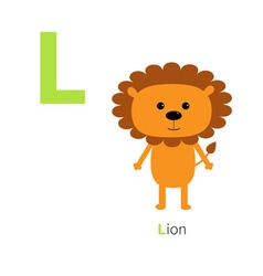 Letter L Lion Zoo alphabet English abc with vector image