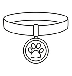 Line art black and white pet collar vector
