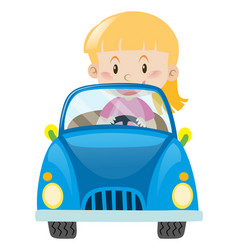 Little girl driving in blue car vector