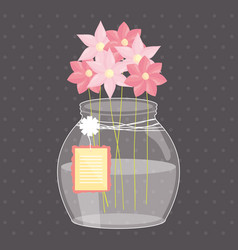Mason jar glass with flowers and tag hanging vector