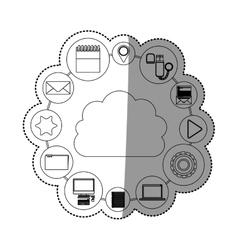 Media and cloud computing design vector
