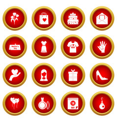 Mothers day icon red circle set vector