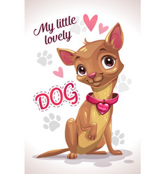 My little lovely dog cute cartoon sitting vector