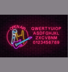 Neon open air sign with microphone electro guitar vector