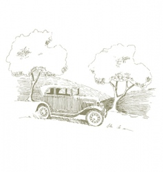 old car scene vector image