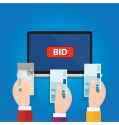 online bidding auction laptop bid button hand vector image