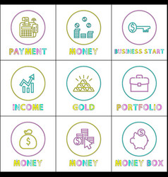 online payments and web income round linear icons vector image